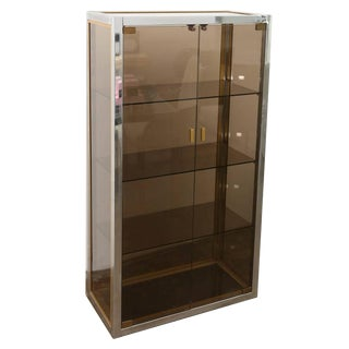 Mid Century Modern Italian Chrome, Brass & Smoked Glass Vitrine by Romeo Rega