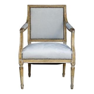 Louis XVI Fauteuil in Original Paint and New Platinum Velvet For Sale