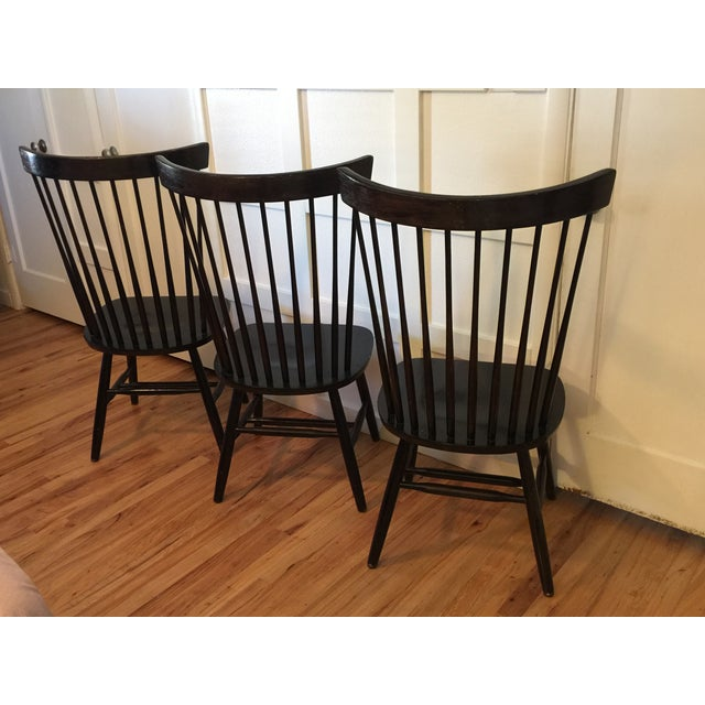 1970s Edmund Spence Style Ebony High Comb Spindle Windsor Chairs - Set of 3 For Sale - Image 5 of 13