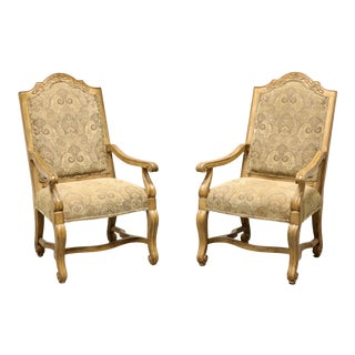 Bernhardt Rustic Italian Style Dining Captain's Armchairs - Pair For Sale