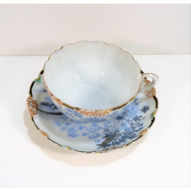 Antique Asian Cup and Saucer Set - Very Thin & Delicate China. Soft Blue & White Landscape Theme with Birds & Fuji Mums....
