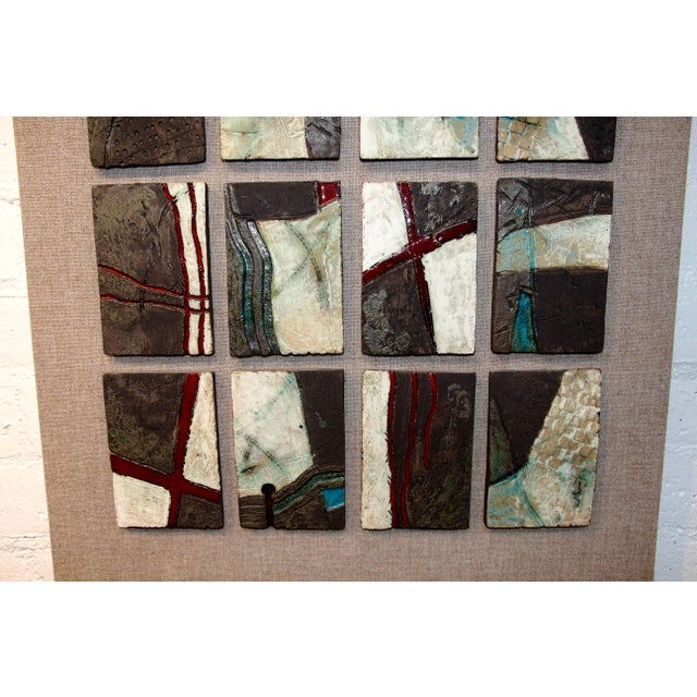 Fabric 20 Unique Tiles Mounted as a Wall Sculpture For Sale - Image 7 of 10