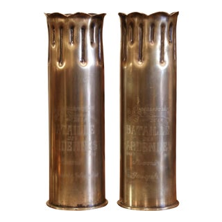 World War II French Trench Artillery Brass Shell Casing, Bulge Battle Dated 1944 For Sale