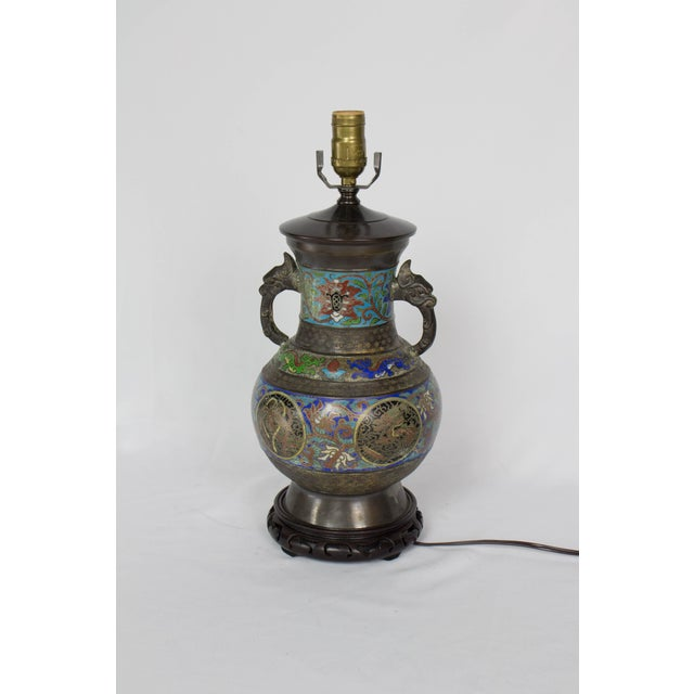 Asian Restored Vintage Champleve Table Lamp For Sale - Image 3 of 9