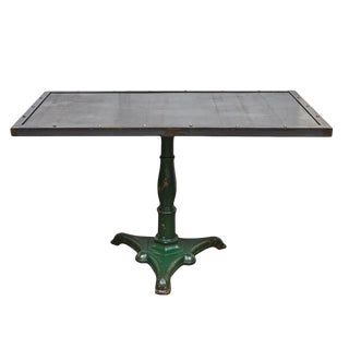 Metal table with Antique Base For Sale