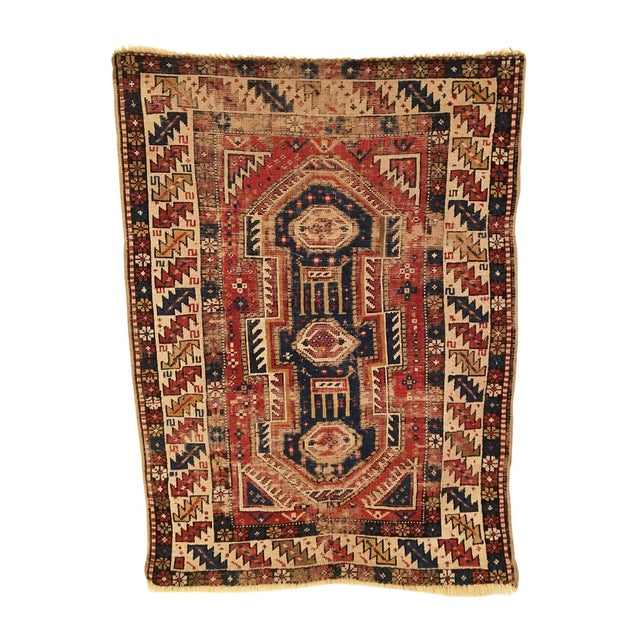 Late 19th Century Antique Caucasian Shirvan Distressed Small Rug 3'4 X 4'6 For Sale - Image 4 of 4