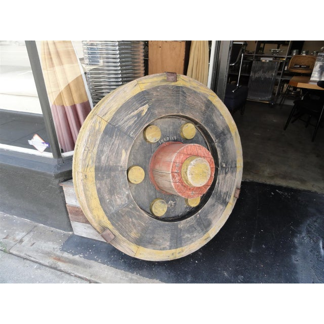 Rustic Large Wooden Industrial Gear Mold For Sale - Image 3 of 11