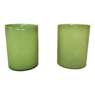 Lime Green Glass Cylindrical Vases- a Pair For Sale