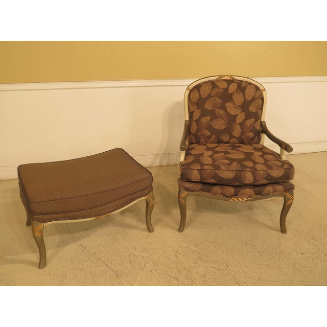 Traditional Upholstered Arm Chair & Matching Ottoman For Sale - Image 3 of 11