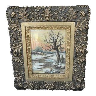 Vintage Chalk Drawing Winter Scene in Aesthetic Frame For Sale