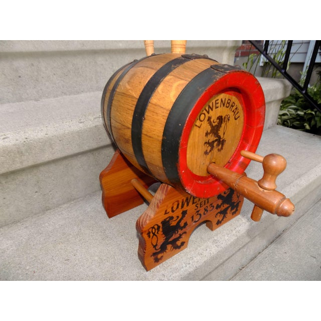 Lowenbrau Beer Wood Keg & Base For Sale In Providence - Image 6 of 11