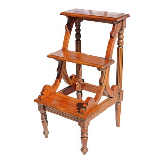 1980s Mahogany Library Steps Plant Stand For Sale