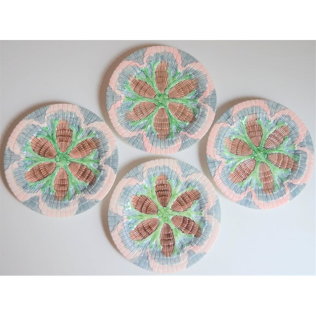 Vintage Horchow Majolica Seashell Plates - Set of 4 For Sale - Image 4 of 8
