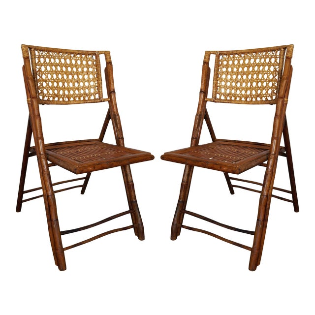 Rattan & Bamboo Folding Chairs - A Pair For Sale
