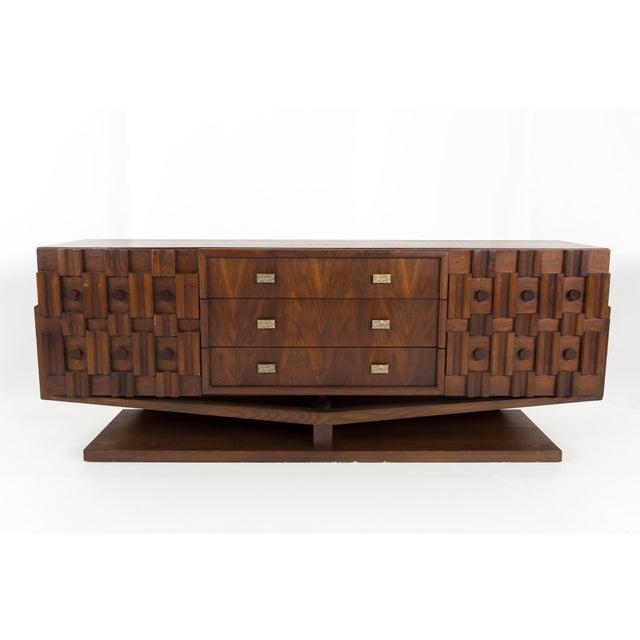 20th Century Brutalist Pedestal Lowboy Dresser For Sale - Image 12 of 12