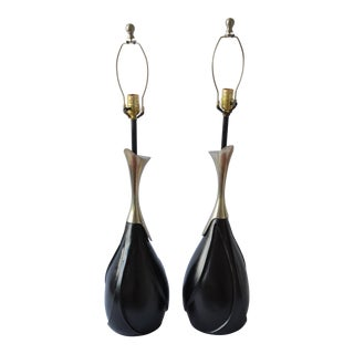 Mid-Century Modern Organic Black & Silver Lamps - A Pair
