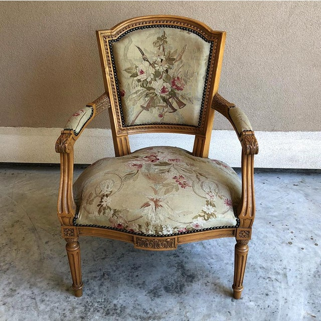 Pair of Louis XVI French Aubusson Tapestry Fruitwood Armchairs For Sale - Image 4 of 13