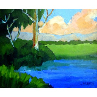 Salinas California Farm Field Pond Landscape Oil Painting Lynne French Art For Sale