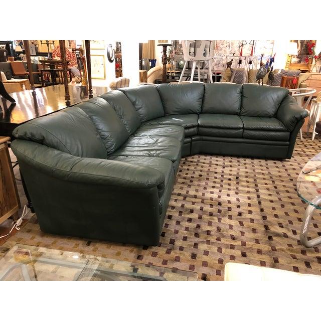 Scandinavian Design Montebello Sectional Sofa In Dark Green Leather