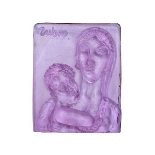 1970s Vintage Reuven Rubin and Egidio Costantini for Fucina Degli Angeli Glass Tile For Sale