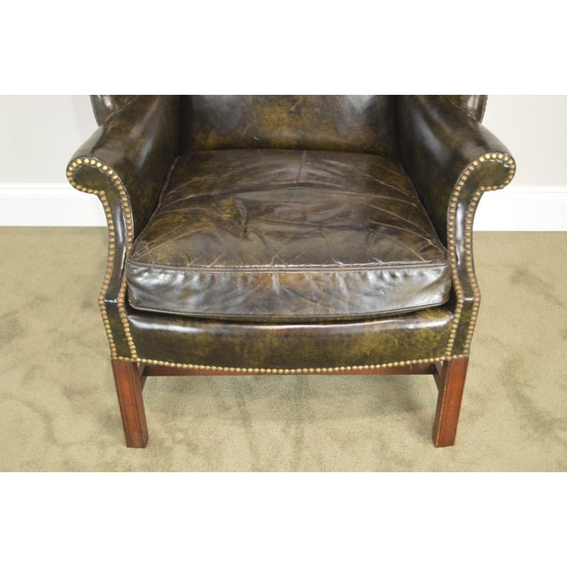 Animal Skin Chippendale Style Dark Green Leather Mahogany Wing Chair For Sale - Image 7 of 13