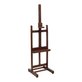 Large English Artist's Display or Floor Easel With Adjustable Tray For Sale