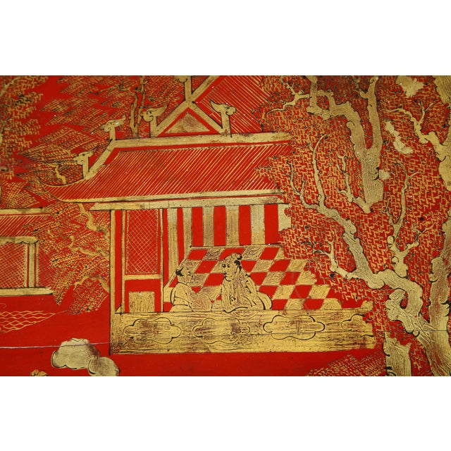 Vintage Hand Painted Red Lacquered Chinoiserie Cocktail/Coffee Table For Sale - Image 9 of 11