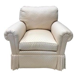 Cream Polka Dot Upholstered Skirted Chair For Sale