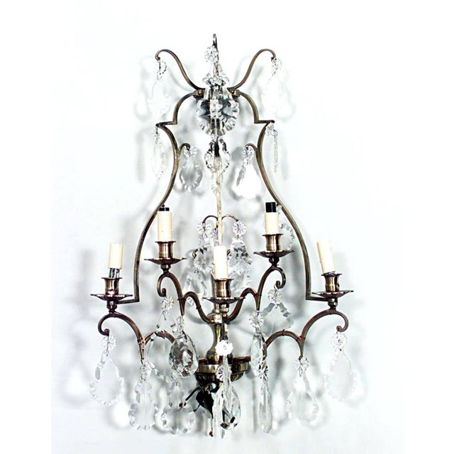 French French Louis XV Style Cut Glass and Lacquered Brass Five-Arm Wall Sconces - a Pair For Sale - Image 3 of 4