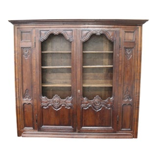 19th Century Century Bibliotech French Louis XV Walnut Bookcase For Sale