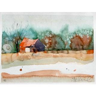 Original La Center Autumn Landscape Watercolor Painting For Sale