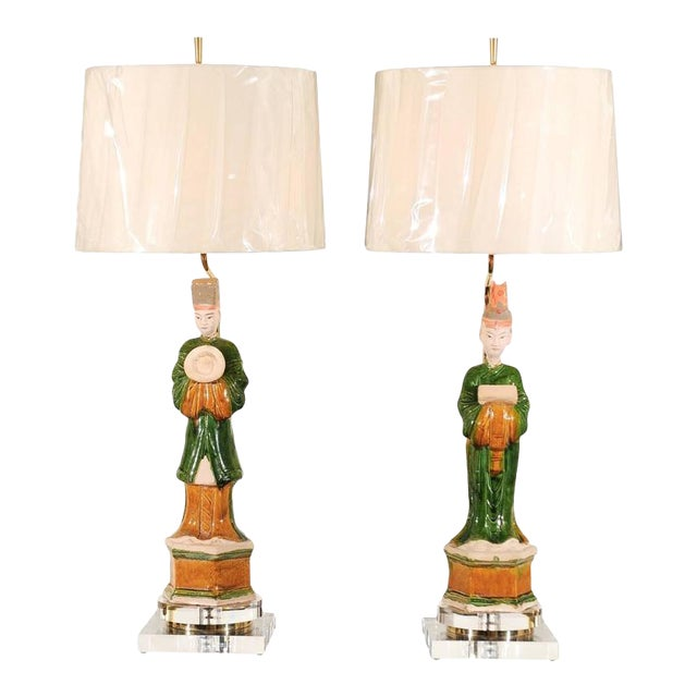 Regal Pair of Chinese Mudmen Figures as Custom Lamps For Sale
