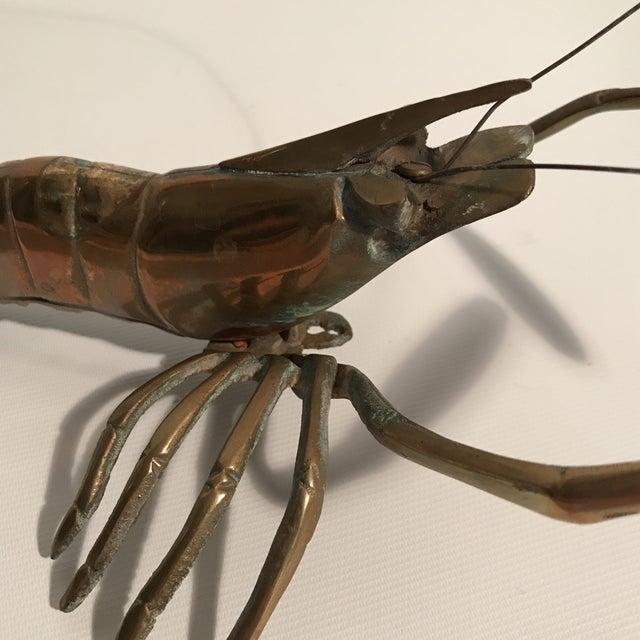 Gold Brass Lobster Sculpture For Sale - Image 8 of 9