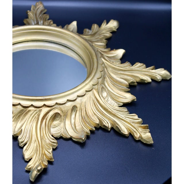 Italian 1960s Italian Gold Feather Rays Sunburst Mirror For Sale - Image 3 of 10