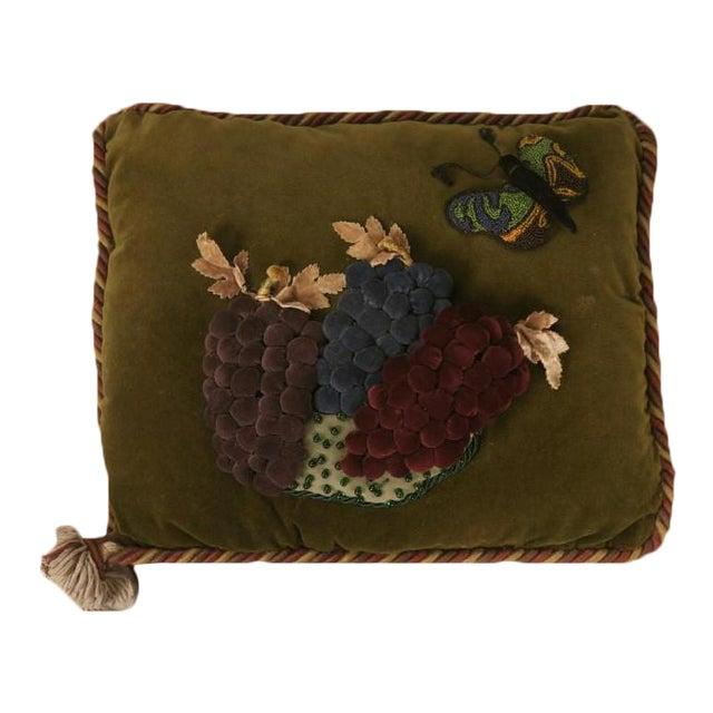 Vintage English Grapes & Butterfly Motif Velvet Pillow For Sale