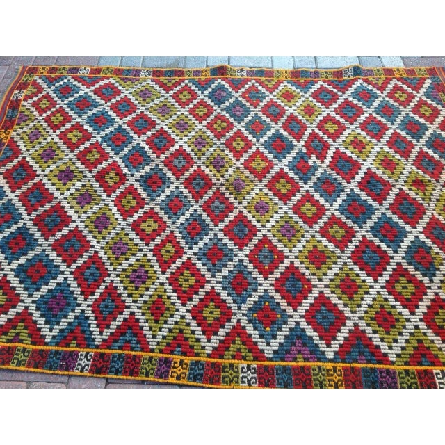 Vintage Turkish Kilim Rug - 4′6″ × 6′5″ For Sale - Image 4 of 6
