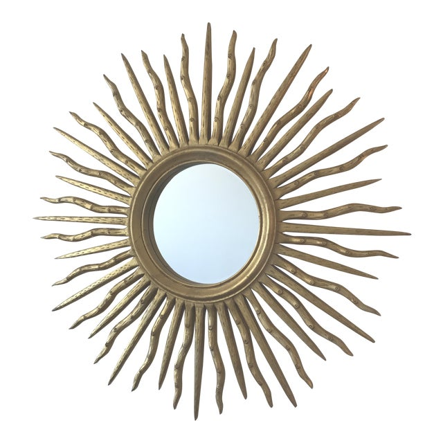 Early 21st Century Contemporary Wood Sun Mirror - Image 1 of 4