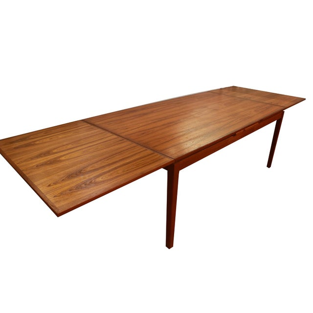 1960s Danish Teak Extra Large Expanding Dining Table With 2 Leaves For Sale - Image 5 of 9