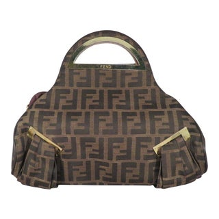 "1980s Fendi ""Zucca"" Top Handle Purse For Sale"