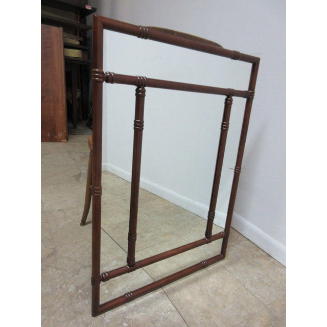 Contemporary Bombay Company Mahogany Faux Bamboo Wall Mirror For Sale - Image 3 of 8