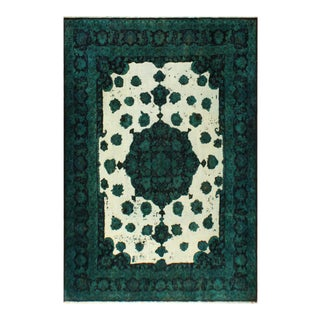 Vintage Distressed Overdyed Riva Teal Blue/Ivory Wool Rug - 9'7 X 12'10 For Sale