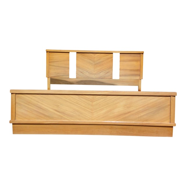 Vintage 1950's Mid Century Modern Art Deco style Double Full Bed Frame For Sale - Image 10 of 10