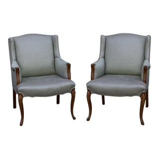 Vintage French Provincial Louis XV Sky Blue Bergere Arm Chairs - a Pair For Sale