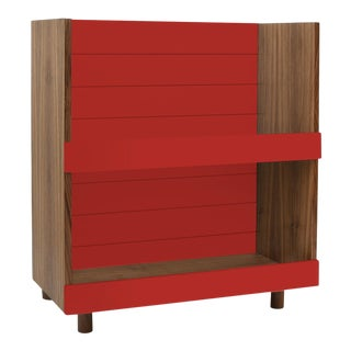 "Minimo Modern Kids 31"" Bookcase in Walnut With Red Finish For Sale"