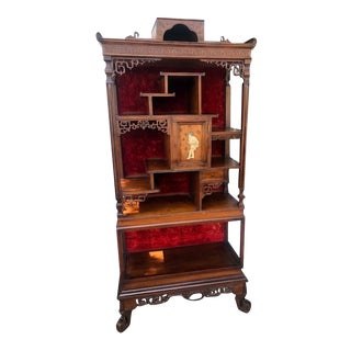 Antique Elegant Japanese Style Cabinet Shelf For Sale
