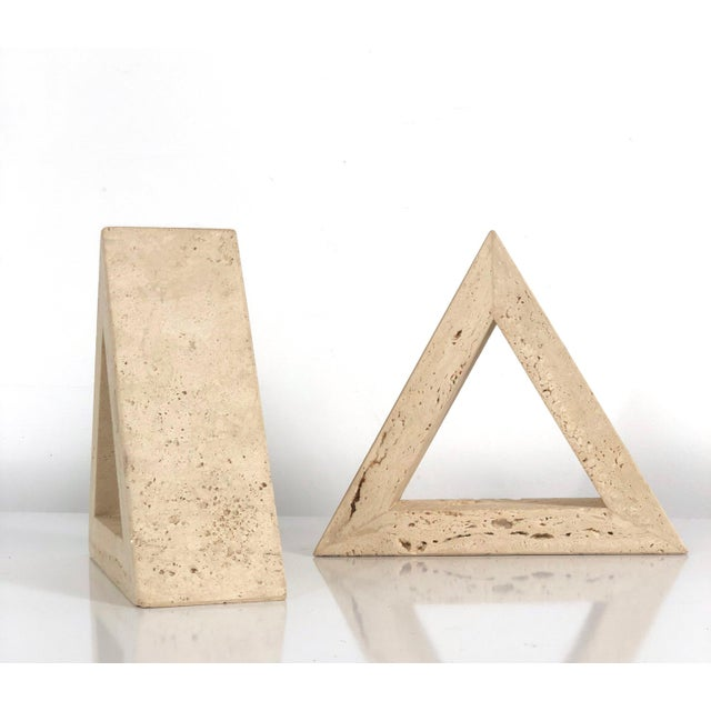 Tan 1960s Fratelli Mannelli for Raymor Triangle Travertine Bookends - a Pair For Sale - Image 8 of 10