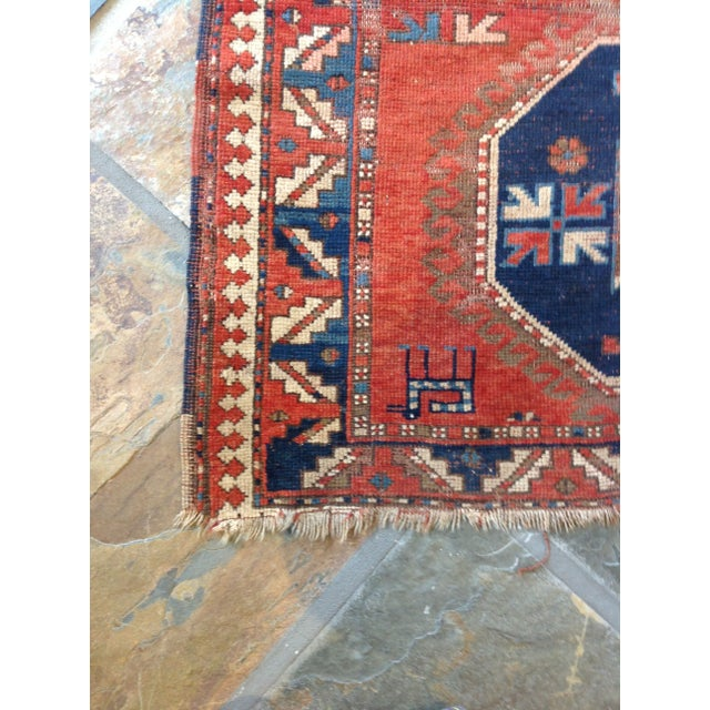Traditional Antique Persian Red & Blue Rug For Sale - Image 3 of 5