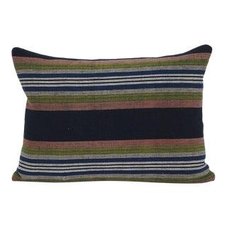 Japanese Cotton Shima Stripe Pillow For Sale