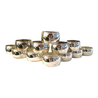 1980s Modern Classic Silver Napkin Rings - Set of 12 For Sale