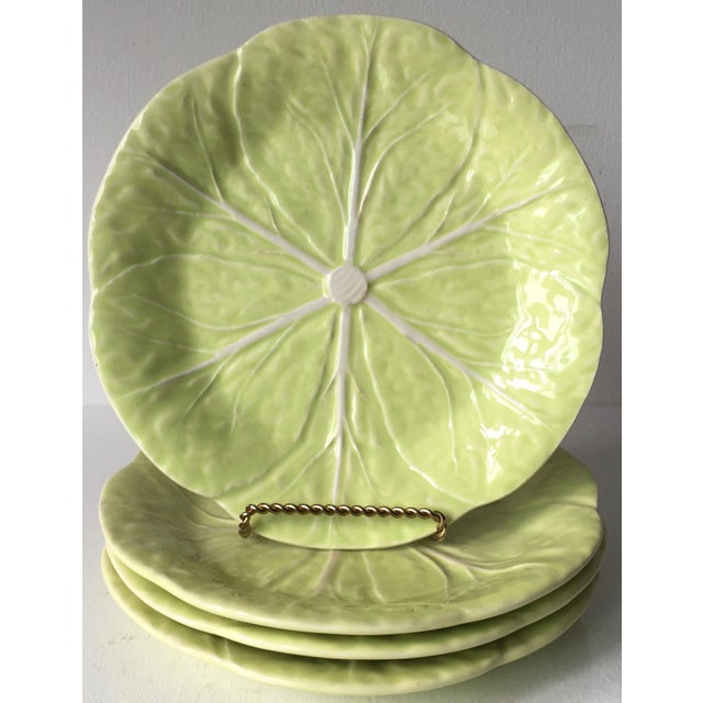 Bordallo Pinheiro Cabbage Leaf Majolica Plates-Set 4 For Sale - Image 9 of 10